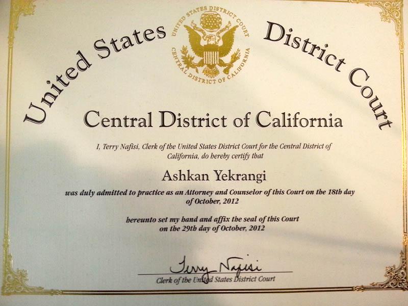 Ashkan Yekrangi certificate