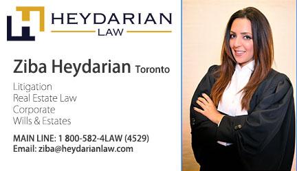 Contact Ziba Heydarian Law Toronto زیبا حیدریان